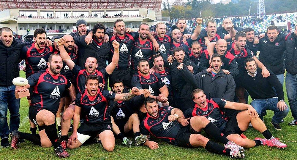 Сборная Грузии по регби после победы над командой Самоа в Тбилиси