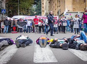 """""""ქვეითთა საყოველთაო მსვლელობის"""" მონაწილეები თბილისში"""