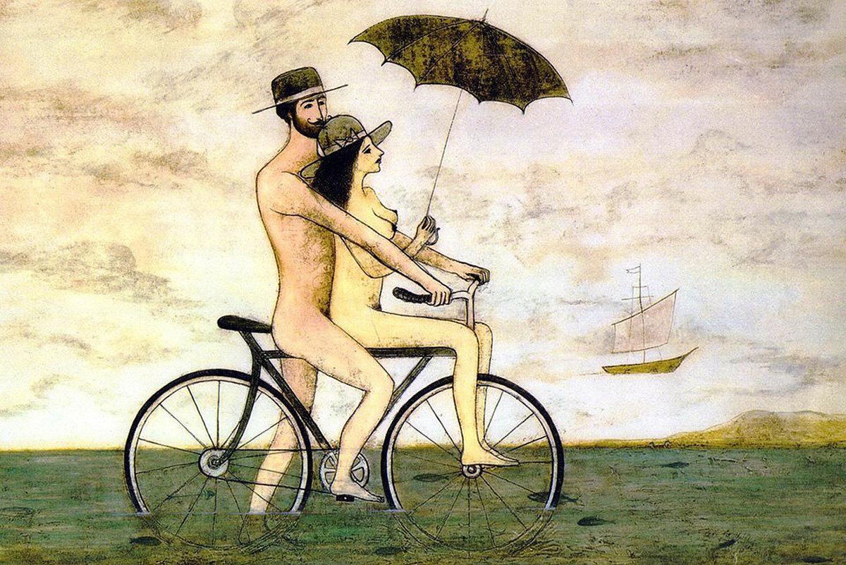 ქართველი მხატვრის, ზვიად გოგოლაურის ნახატი - შიშველი ქალი და მამაკაცი ველოსიპედით სეირნობენ