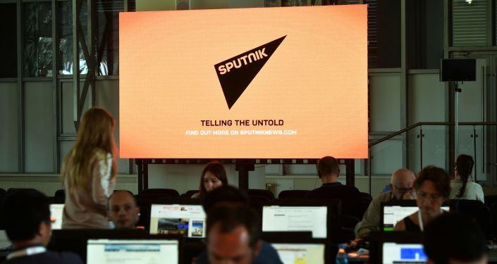 Журналисты на фоне экрана с логотипом агентства Sputnik