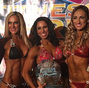 კონკურსი Pro Fitness Universe Top 3 მონაწილე ეკატერინე მეიშვილი, ანგელა გარგანო და ანცა ბუკური