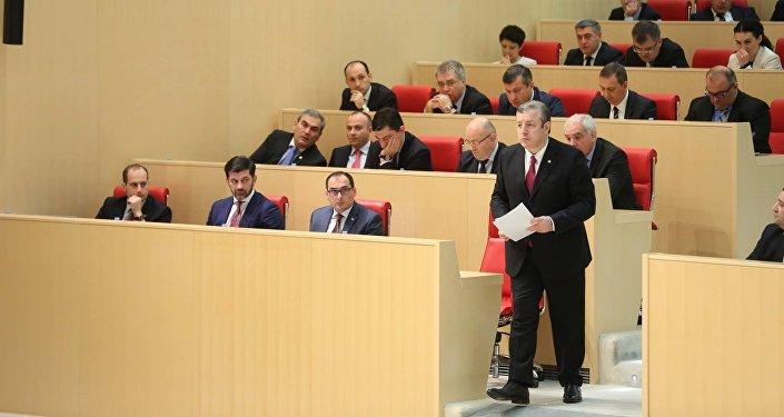Кандидат в премьер-министры Грузии Георгий Квирикашвили в парламенте