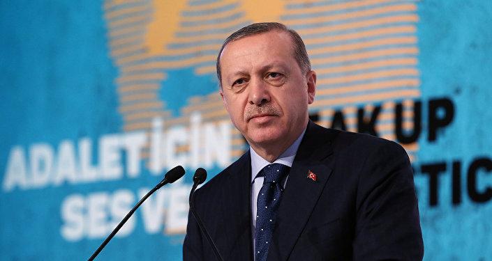 Президент Турции Реджеп Тайип Эрдоган выступает на конференции в Стамбуле