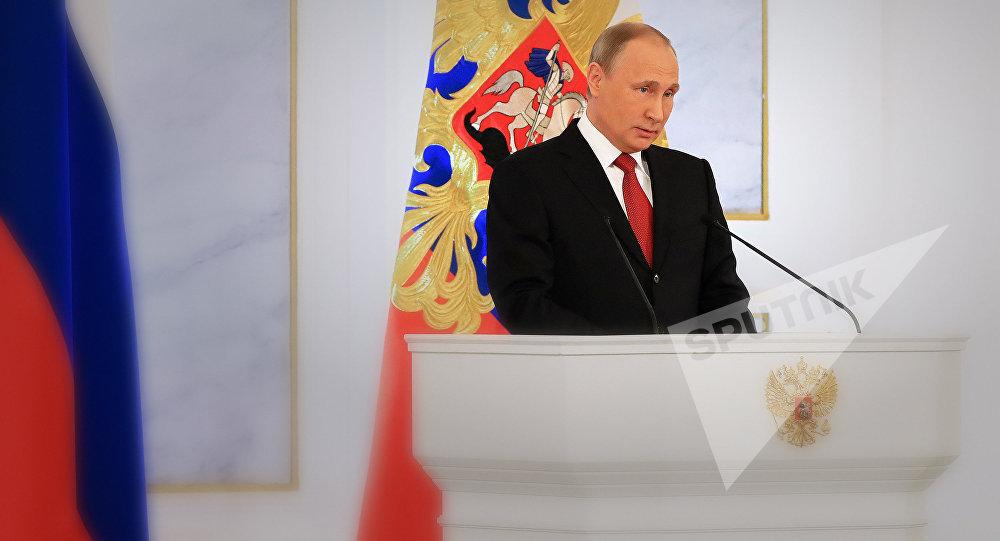 Президент РФ Владимир Путин во время ежегодного обращения к Федеральному собранию