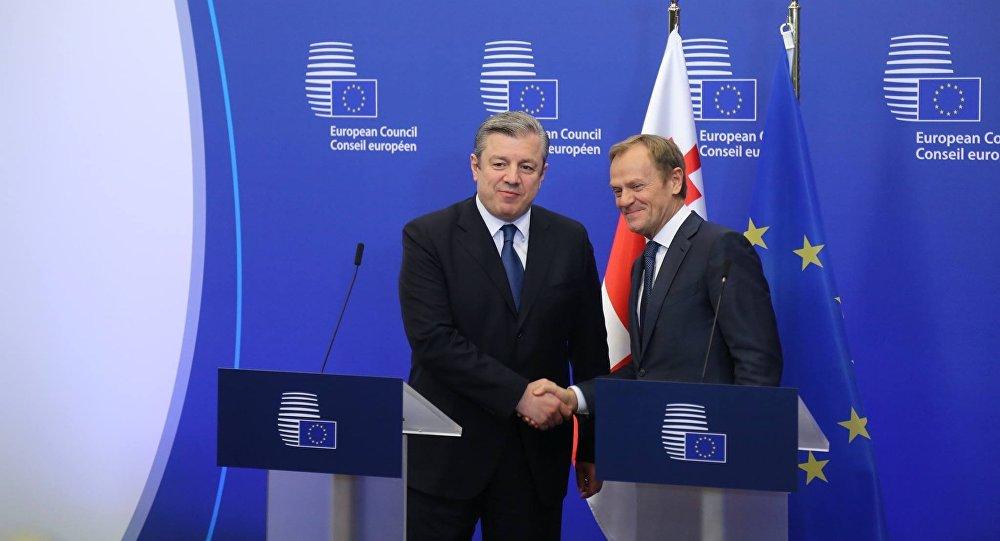 Премьер Грузии Георгий Квирикашвили и глава Европейского Совета Дональдом Туском