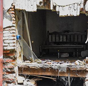Стена исторического дома на улице Шалвы Дадиани в Тбилиси обрушилась