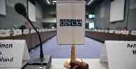 Флаг и молоток ОБСЕ на открытии заседания в Центре конференций «Хофбург» в Вене, 28 января 2008 года