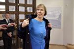 Президент Эстонии Керсти Кальюлайд во время визита в Финляндию