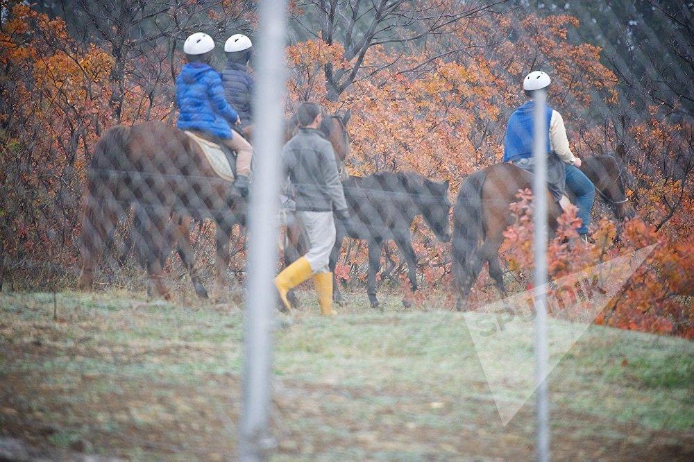 საცხენოსნო კლუბ სპირიტის სტუმრები ცხენებით სეირნობენ თბილისის ზოოპარკის ახალ ტერიტორიაზე