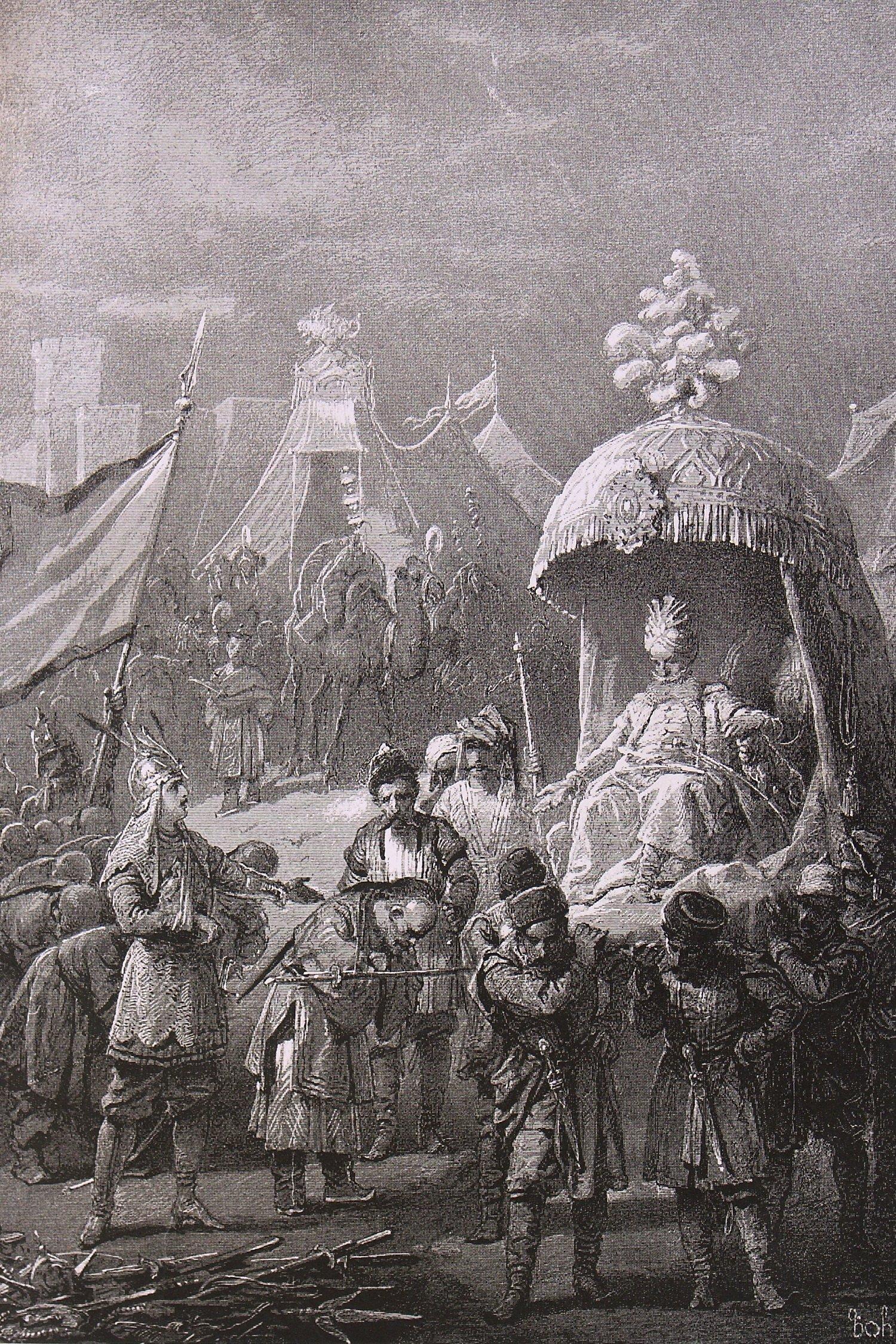 Михай Зичи Во дворец привел, под стражей, плененного царя хатавов