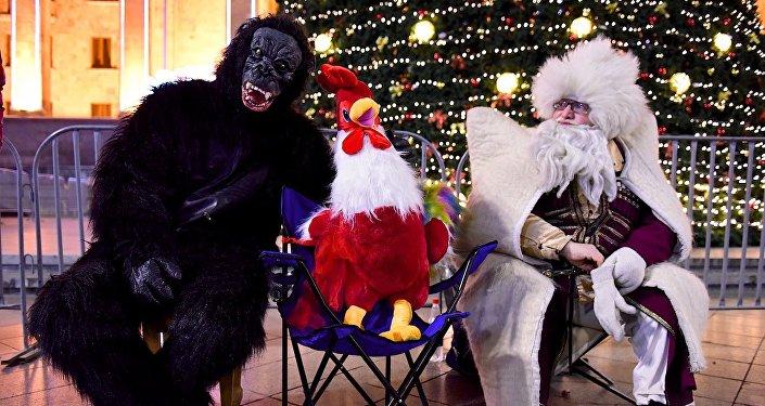 У главной новогодней елки Грузии в Тбилиси можно сфотографироваться не только с Дед Морозом, но и с символами уходящего и наступающего года - Обезьяной и Петухом