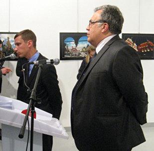 Посол России в Турции Андрей Карлов произносит речь перед тем, как неизвестный нанесет ему смертельное ранение