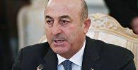 Министр иностранных дел Турции Мевлют Чавушоглу во время трехсторонней встречи глав МИД России, Ирана и Турции в Москве