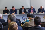 Борец вольного стиля Владимир Хинчегашвили, штангист Лаша Талахадзе и президент НОК Лери Хабелов на презентации книги об Олимпийских Чемпионах Рио-2016