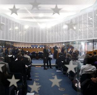 Общий вид на зал заседаний, Европейский суд по правам человека в Страсбурге