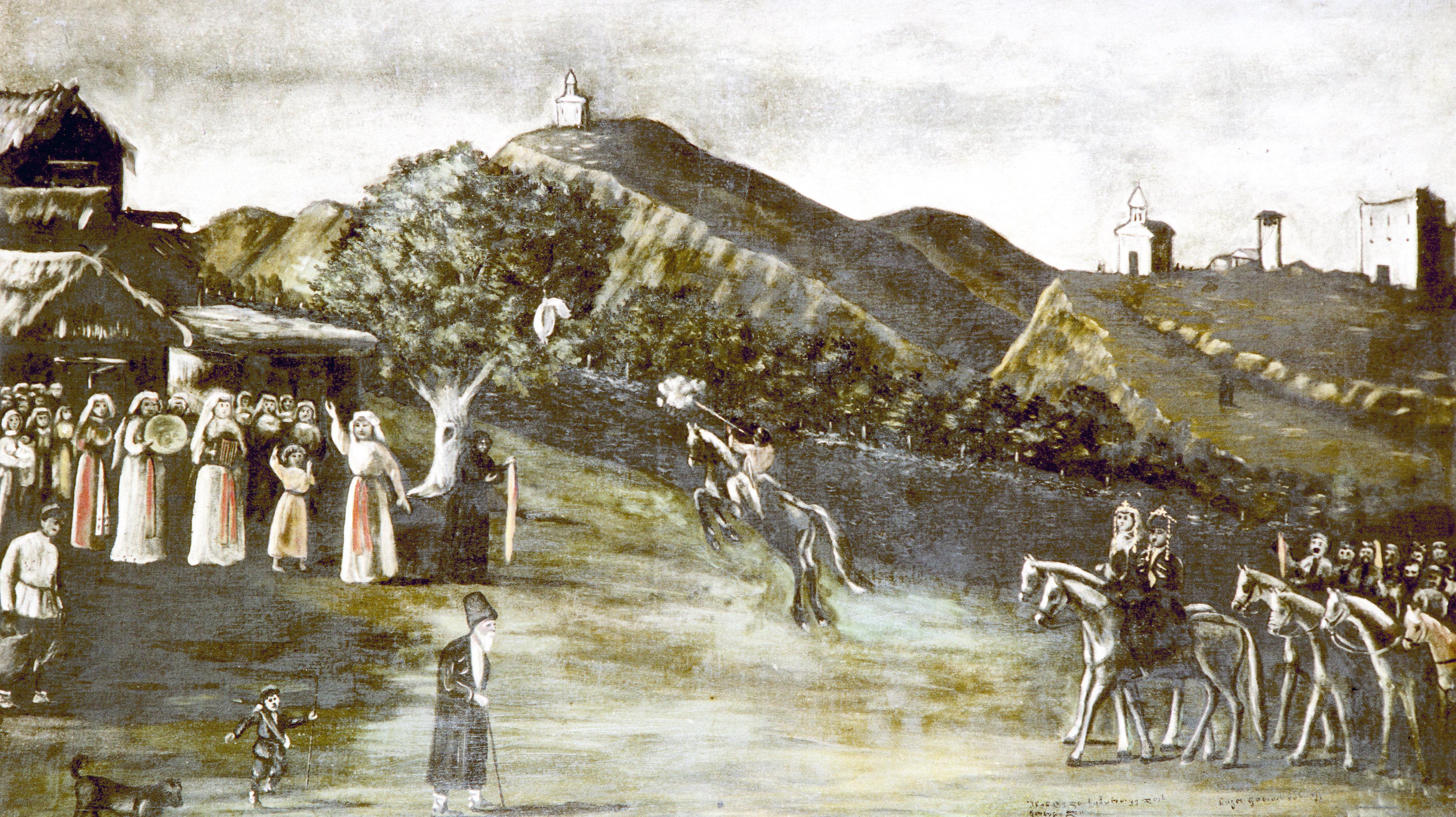 ნახატის ქორწილი კახეთში რეკონსტრუქცია. მხატვარი ნიკო ფიროსმანი, შესრულებულია 1913 წელს.
