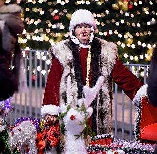 Женщина в костюме Снегурочки у главной новогодней елки в столице Грузии