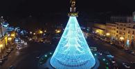 Вид на ночной Тбилиси в новогодние дни