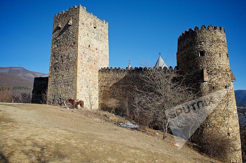 ხედი ანანურის ციხე-სიმაგრეზე საქართველოს სამხედრო გზიდან