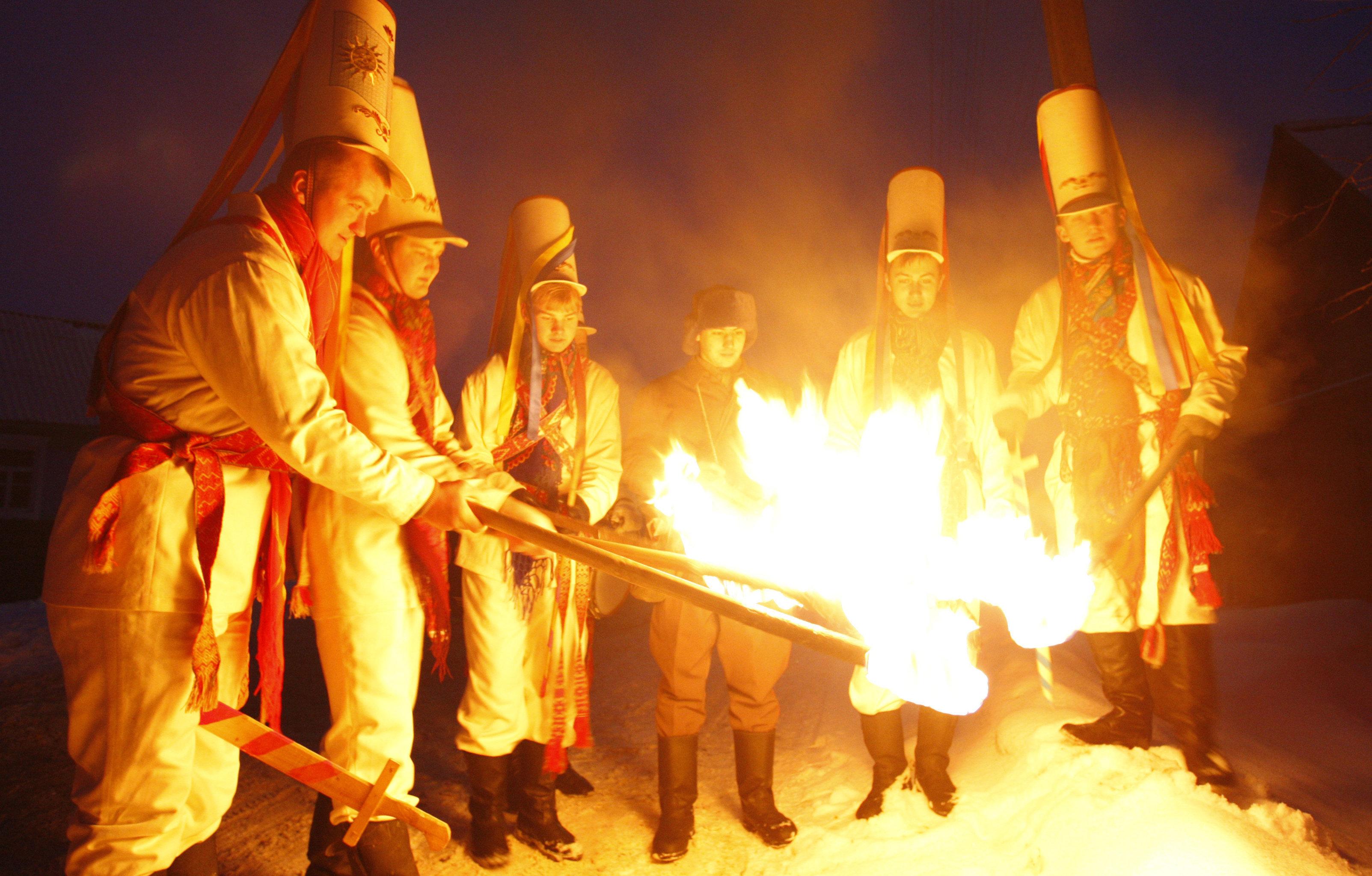 Празднование Старого нового года в белорусской деревне