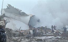 Первые кадры с места крушения грузового самолета под Бишкеком