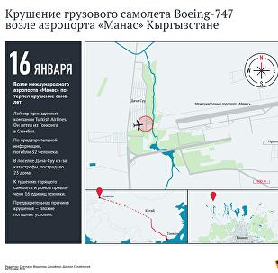 Маршрут и место крушения Boeing-747 под Бишкеком