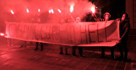 Кадры акции протеста у американского посольства в Москве
