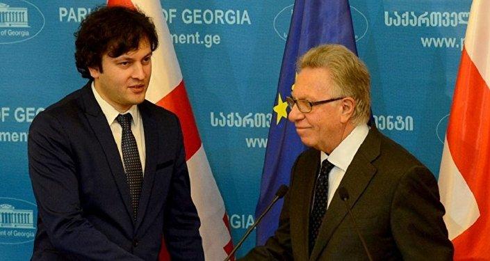 Председатель парламента Грузии Ираклий Кобахидзе и глава Венецианской комиссии Джанни Букиккио