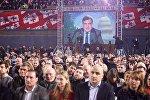 Михаил Саакашвили обращается к участникам съезда ЕНД с помощью Skype