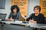 Представители Союза безработных для занятости Мадлена Хурошвили и Тамара Иовашвили