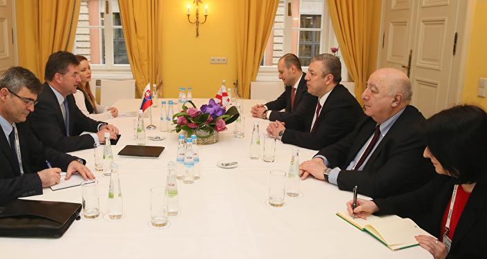 Встреча премьер-министра Грузии Георгия Квирикашвили с главой МИД Словакии Мирославом Лайчаком