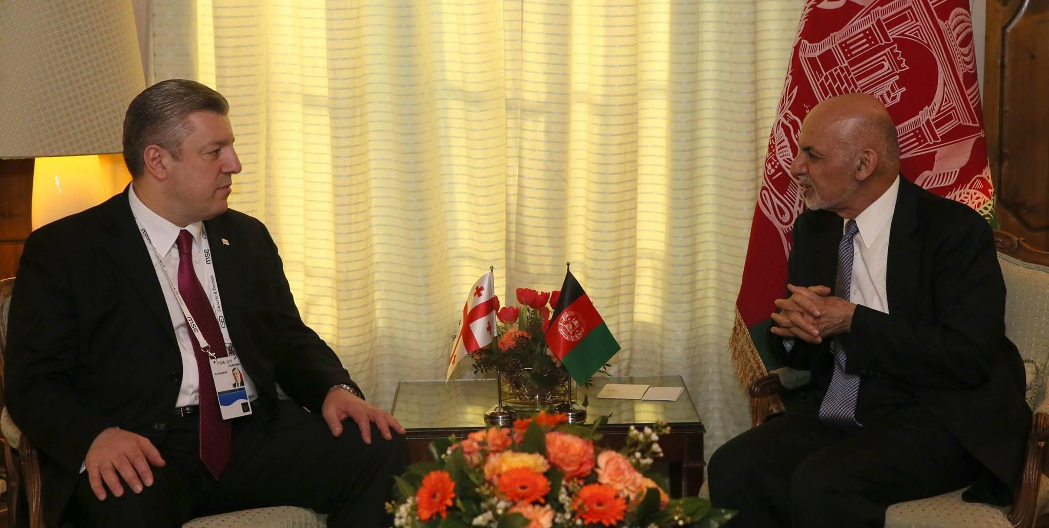 Премьер Грузии Георгий Квирикашвили и президент Афганистана Мохамед Ашраф Гани