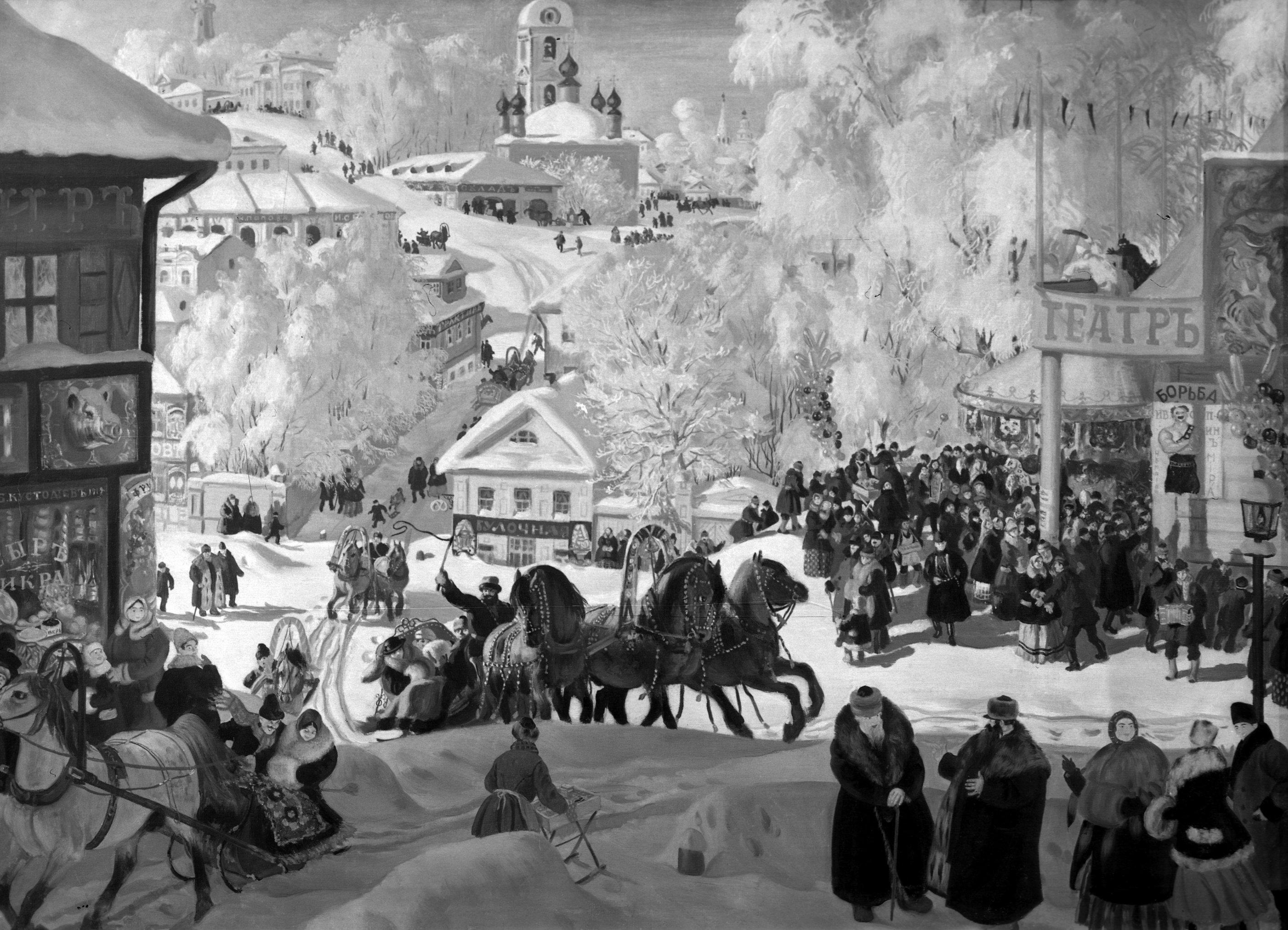 Репродукция картины Бориса Кустодиева Масленица