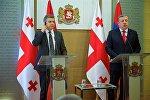 Премьер-министры Армении и Грузии Карен Карапетян и Георгий Квирикашвили на совместном брифинге