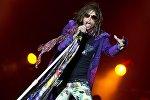 Вокалист группы Aerosmith Стивен Тайлер выступает на рок-фестивале в Швеции в городе Сёльвесборг