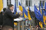 Бывший президент Грузии Михаил Саакашвили выступает на митинге перед своими сторонниками в Киеве
