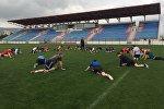 Тренировка российского регбийного клуба Красный Яр в Рустави