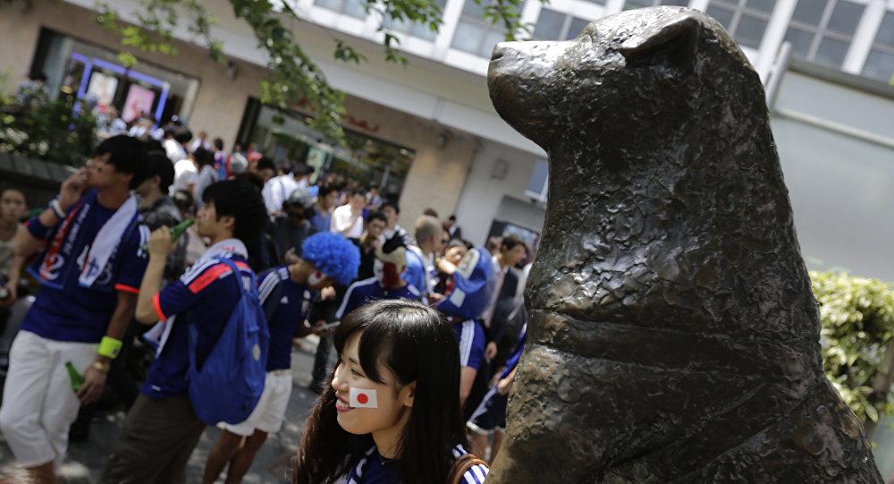 Японские футбольные фанаты около памятника собаке Хатико