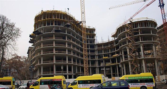 Строительство одного из объектов комплекса Панорама Тбилиси