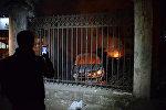Человек фотографирует на смартфон сожженные в ходе беспорядков в Батуми машины