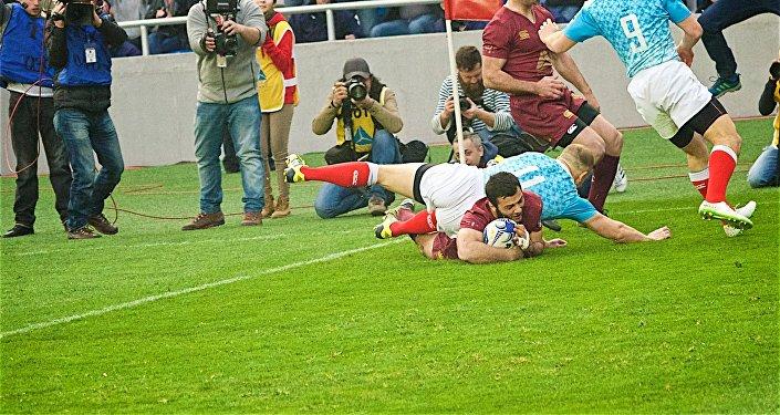 Матч по регби между сборными Грузии и России, который завершился со счетом 28:14