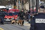 Полиция за пределами отделения Международного валютного фонда (МВФ), где взорвался конверт в Париже, Франция