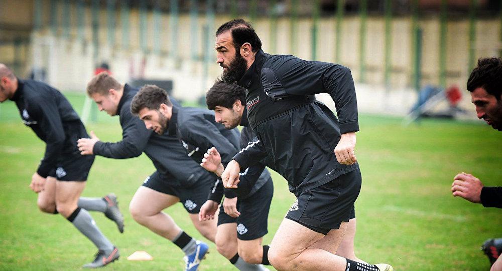 Подготовка сборной Грузии по регби к матчу с румынами