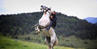 Мужчина на коне в горах в Алгетском национальном парке