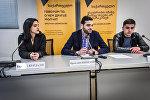 Председатель Русско-грузинского молодежного союза Ираклий Кипиани на пресс-конференции