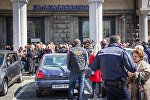 Акция протеста уличных торговцев у метро Марджанишвили в Тбилиси