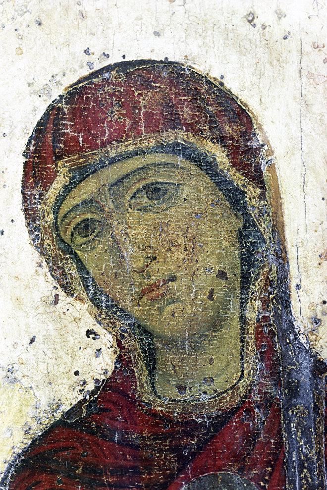 Изображение Богоматери. Фрагмент иконы Благовещение (Устюжское)