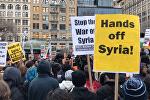 Акции протеста в США против ракетного удара по авиабазе в Сирии