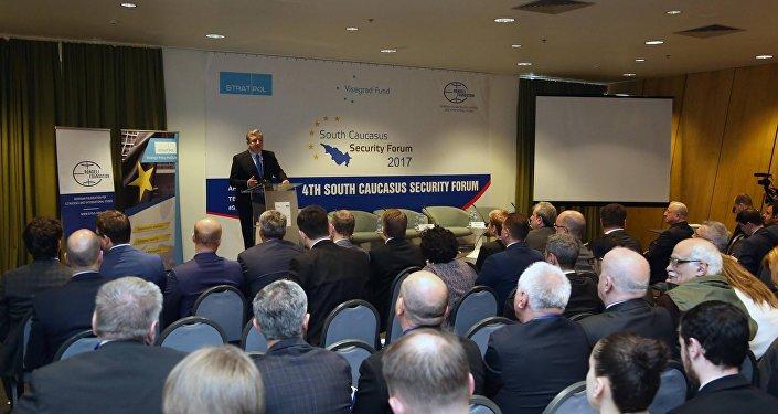 Премьер Грузии Георгий Квирикашвили на четвертом Форуме безопасности Южного Кавказа 2017