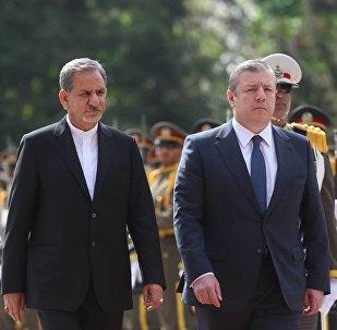 Первый вице-президент Ирана Эсхак Джахангири и премьер-министр Грузии Георгий Квирикашвили